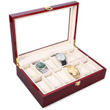 12 Ranuras Vintage Madera Reloj Vitrina