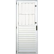 Porta Com Postigo De Alumínio Branco 2,10 X 0,80 Esquerda