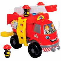 Brinquedo Caminhão Bombeiros Grande Com Som