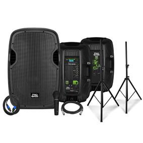 Kit Caixas Com Tripé E Microfone Pro Bass Power Stage 215
