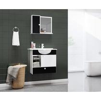 Gabinete Armario P/ Banheiro Com Pia Orion Cor Branco/preto
