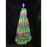 Arbol/pino Navideño Blanco De 180cm Luz Led Fibra Óptica