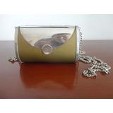 Bolsa Em Metal Prata E Verde C/alça Longa,estilo Retrô,linda