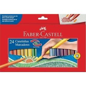 Canetinha 24 Cores Faber-castell Ponta Vai E Vem