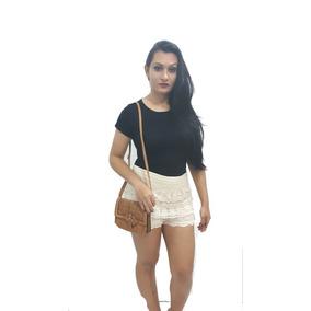 Shorts Feminino Não Jeans Em Renda Guipir Anita Blogueira