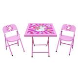 Mesa Mesinha Infantil Criança Aco Com 2 Cadeiras Rosa