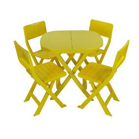 Ecokit 4x1 Mesa E Cadeira Dobrável Plastico Amarelo