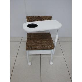 Cadeira Manicure Cirandinha C/gaveta Oncinha + Apoio Para Pé