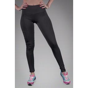 Calza Legging Chupin Fitness Negro Tiro Alto Con Costuras
