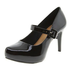 Sapato Feminino Salto Alto Verniz/preto Mixage - 1536653