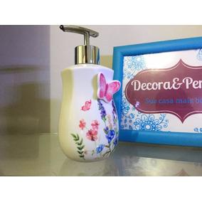 Porta Sabonete Líquido Com Borboleta Porcelana, Banheiro