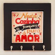 Porta Chave Com Azulejo - Amor Na Cozinha
