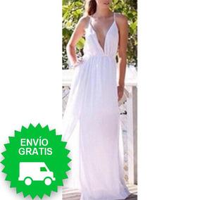 Vestido Sexy Largo Color Blanco Espalda Descubierta