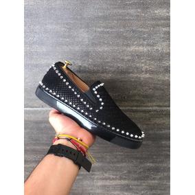 Zapatos Tenis Loubotin # 7.5mex Negros Piedras Plata