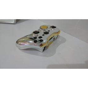 Carcaça Controle Xbox 360 Dourada E Cromada Ouro Completa