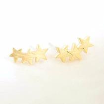 Aretes Earcuff Estrellas Joyería Fina Plata Baño Oro 14 Kt