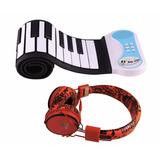 Teclado Infantil Musical Flexível 49 Teclas + Fone + Frete