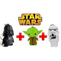 3 Chaveiros: Darth Vader + Yoda + Stormtrooper Star Wars Led