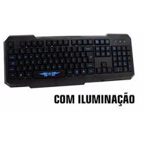 Teclado Gamer C3 Tech Com Teclas Iluminadas Usb Kg-02l Bk