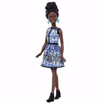 Boneca Barbie Fashionista Negra Petite Blue Brocade Azul