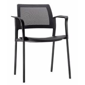 Cadeira Fixa Modelo Kyos Em Polipropileno 4 Pés Preta B 07