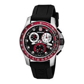 Wenger Mens 70789 Battalion Field Chrono Red And Black Rubbe