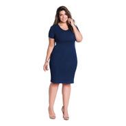 Vestido De Festa Plus Size Moda Evangélica Midi Tubinho Azul