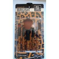 Kit Pinceis C/ 05 Unids Para Maquiagem Oncinha Brush