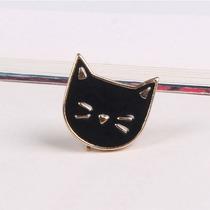 Broche Metálico Esmaltado Gato Negro