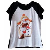 Blusa Feminina Camiseta Raglan Preta E Branca Boneco De Neve