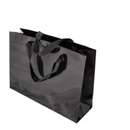 Bolsa Cartulina Negra Laminada 32x10x23 Con Manija X50