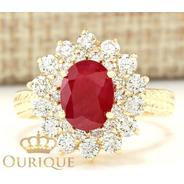Anel Feminino Rubi Com Diamantes De Ouro 18k 750 Formatura