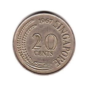 Singapur Moneda 20 Cent Año 1967 Km#4 Asia Pez Espada
