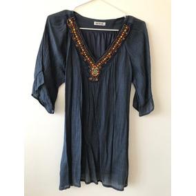 Bluson / Vestido Azul Con Piedras Bordadas A Mano