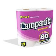 Papel Higiénico Campanita Blanco 80 Mts Bolsón X 40 Rollos.