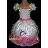 Vestido Junino Noiva Rosa/bco Festa Junina Noivinha Caipira
