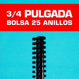 Anillos De Encuadernar 3/4 Pulgada 19 Mm. Paq. 25 Und. Negro