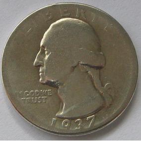 Estados Unidos Moneda Quarter Dollar Dolar 1937 Plata 900