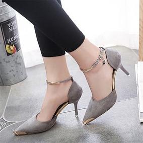 Hermoso Zapato Tacón Alto Mujer Elegante Casual Gris