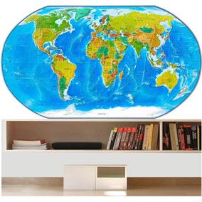 Adesivo Mapa Mundi Papel De Parede Revestimento Decoração 31