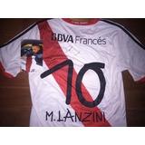 Autografiada! Camiseta River adidas 2013 Titular #10 Lanzini