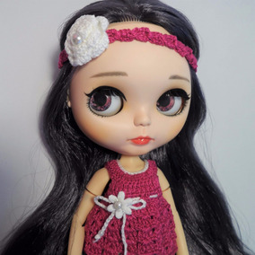 Blusa & Tiara Crochê Pink Bonecas Blythe, Barbie, Pullip
