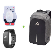 Pack Mochila  Legend M1713 Gris+ Smartband+mouse Inalambrico