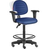 Cadeira Caixa Alta Ergonômica Nr17 Costura Azul Noturno