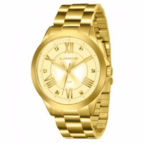 Relógio Lince Feminino Dourado Lrgj046l C3kx - Original