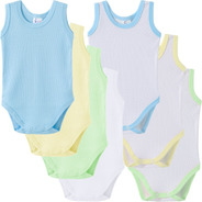 Body Bebê Curto Regata Verão 100% Algodão Kit 7 Peças
