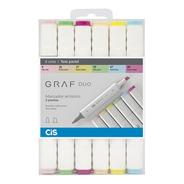 Graf Duo Cis Marcador Artístico 2 Pontas 6 Cores Tons Pastel