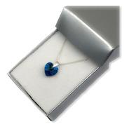 Collar Cadena De Plata 925 Con Dije Cristal Corazón 10 Mm