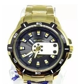 8a750846008 Relogio Atlantis Dourado Fundo Preto - Relógio Masculino no Mercado ...