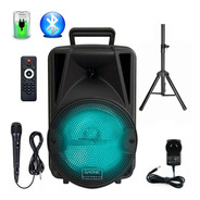 Bafle Potenciado 8 3000w Bluetooth Usb Sd Bateria Luces Led